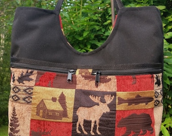 MOOSE TOTE BAG, Magnetis Snap Closure, Handbag, Shoulder Straps, Bear, Lined, Country Fabric, Vermont Made, Woodland ,Rstic (Judy Tote)