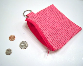 Coin Pouch in Pink and Red Love