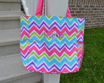 Chevron Tote Hot Pink Purple Teal Lime Green with Hot Pink Handles Personalized Custom Monogramming Bag Diaper Teacher Scrapbooking