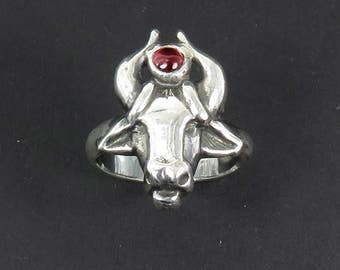 Hathor Ring - Egyptian Goddess Ring - Goddess of Love - Goddess of Fertility - Cow Goddess - Ancient Egypt Cult - Pagan Ring - Witch Ring