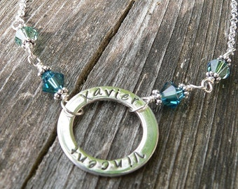 Solid Sterling Silver Mother's Circle Necklace Washer Necklace with Birthstones - Completely Custom - Many Font Choices - Mom Mommy Grandma