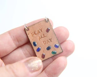 Colourful Copper necklace - unique hand stamped jewellery ' Play All Day ' with glass beads & enamel - ooak jewellery accessories