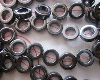 Hematite Donut Beads 12mm 18 Beads