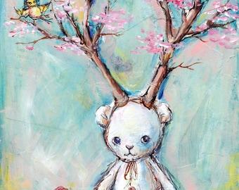 Bear with Antlers: Woodland bear and bird print, Tree Print, Pink Cherry Blossom Bloom Flowers, whimsical nursery art print