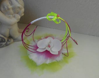 Ring bearer for wedding - fuchsia, lime green and white with Orchid