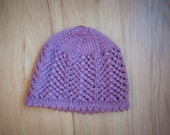 Hand knit rose pink lace baby hat