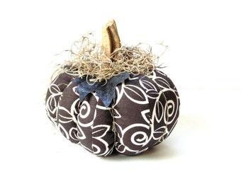 Fabric pumpkins, brown white stuffed pumpkin, Halloween decor, fall decor, Thanksgiving home decor, real stem,  handmade pumpkin
