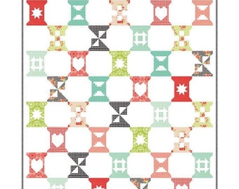 """ON SALE Spool Sampler Quilt Kit 61"""" x 72"""" with Moda Handmade Fabric by Bonnie & Camille KIT55140"""