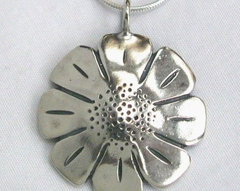 Silver Daisy Pendant Made from Vintage Walking Liberty Half Dollar Coin