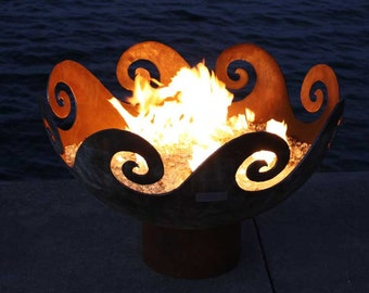 The Waves O' Fire 37 inch Sculptural Firebowl