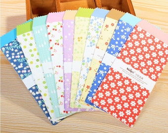 Colorful Envelope Set - Little Flower Collection - 87mm x 195mm - 10 Sheets in Different Prints