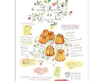 Cannelés recipe, French cake recipe painting, Watercolor recipe illustration print, 8X10 print, Kitchen art, Food artwork Kitchen wall decor
