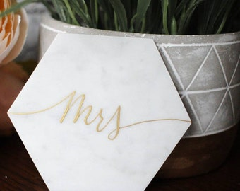 4 Inch// Customized Calligraphy Hexagon Marble Coasters. Wedding Place Cards. Escort card. Personalized Hexagon Coasters.Wedding Favors.