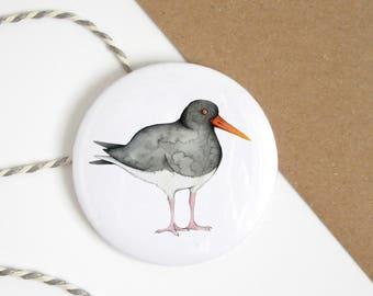 Pocket mirror - oystercatcher - wading bird - shore bird - bird hand mirror - purse mirror - bird drawing