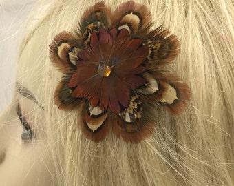 Small Circular Feather Hair Clip,Natural Tribal Hair Clip, Festival Hair Clip, Feather Hair or Hat Clip, Boho Feather Hair Clip