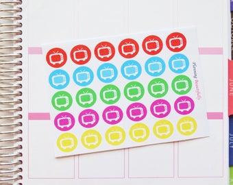 TV Planner Stickers, TV Stickers, TV Eclp Stickers, Television Stickers, Television Planner Stickers, Tv Icon Stickers, Cheap Tv Stickers
