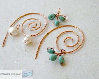 Spiral Copper hoops with Charms Camp Sundance earrings