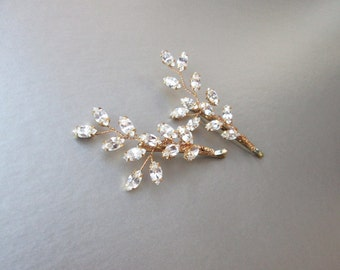Bridal crystal bobby pin, Swarovski crystal bobby pin, Wedding crystal bobby pin, Leaf crystal bobby pin, Swarovski hair pin, Crystal clip