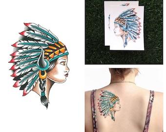 Headdress - Temporary Tattoo (Set of 2)