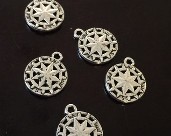 5 PC Compass Charms-Double Sided-Antique Silver Tone Charm