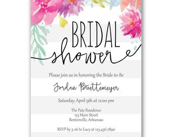 Stripes and Flowers Bridal Shower Invitation
