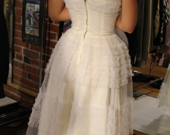 50s Prom Dress, White Fancy Gown, Vintage Prom Dress, Ruffles, Princess Costume, Strampless, Shawl, XS