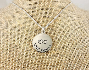 Sterling Silver Round Disc Necklace - Hand Stamped; Custom; Personalize