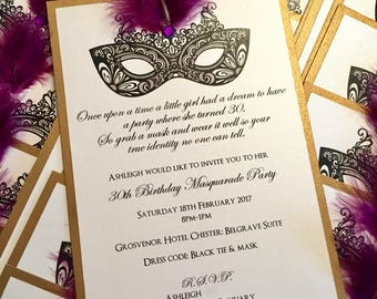 Masquerade Ball | Party | Wedding | Invitations | Mask | Feather