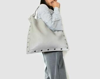 Grey tote bag , Oversize tote bag , Vegan tote purse , Vegan shoulder bag , Minimalist bag , Laptop bag