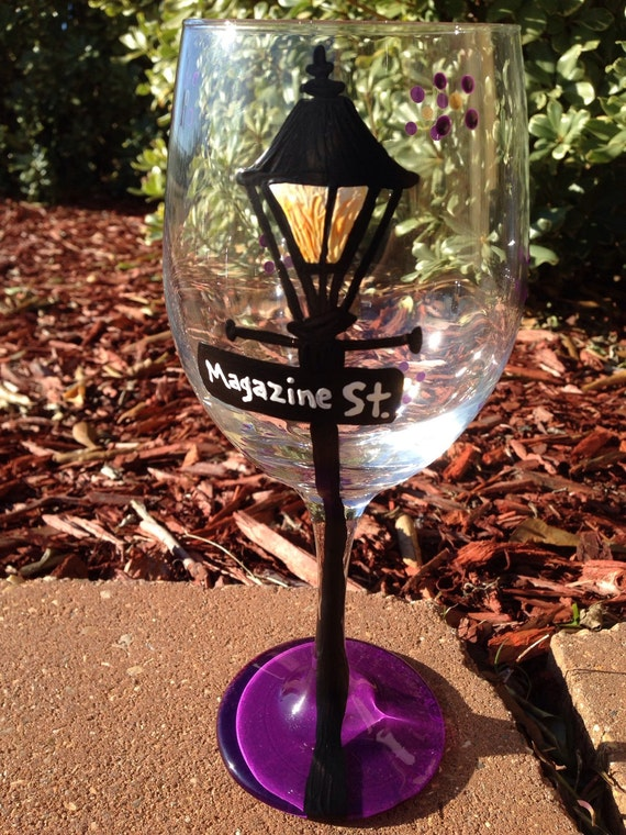 Magazine Street new orleans lamp post street signs Painted Glasses Dishwasher safe Painted Wineglass New Orleans Louisiana