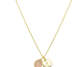 Personalised blush pink chalcedony gemstone Necklace, Teardrop Semi precious stone pendant necklace, Delicate gold vermeil layering necklace