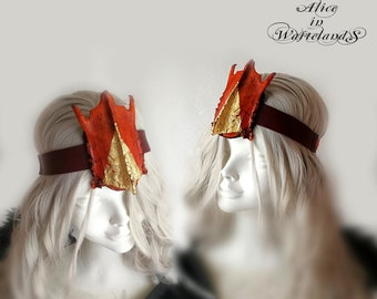 Burning Man taxidermy bone headpiece orange and gold. Post apocalyptic headgear. One of a kind. Handmade wearable art.
