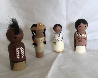 Native American peg doll set