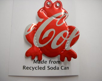 Frog Magnet / Pin Coke Recycled Can  Teacher