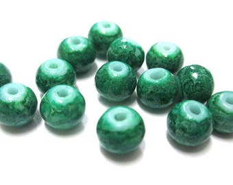 20 dark green marbled beads 6mm