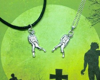 Zombie Necklace, Halloween Necklace, Horror Necklace, Zombie Jewellery, Halloween Gift, Goth Necklace, Horror Jewelry, Goth Gift