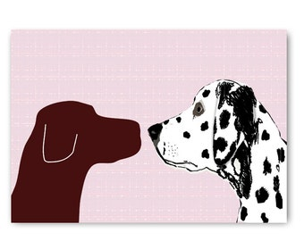 Brown Labrador With Dalmatian Dog  Face to face  - Fine art print, two dogs, dog decor, brown silhouette, pet , animal, Dog art