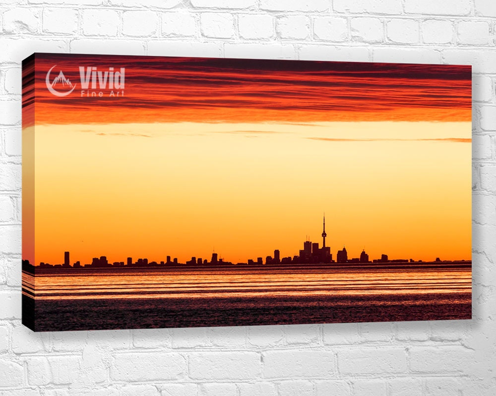 Toronto skyline canvas wall art art for kitchen Lake