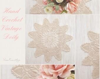 Vintage Crochet Lace Doily Beige - Pineapple Pattern