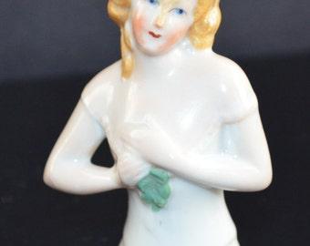 Half Doll German Porcelain Pincushion Girl