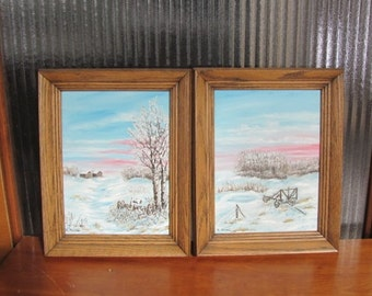 Vintage 70's Farm Scenes Original Paintings with Oak Wood Frames - pair - 70's Prairie Winter - Prairie Farming - Prairie Art - Farmscape