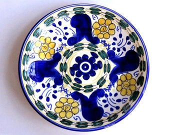 """VINTAGE SPANISH CRESPO hand painted 7 3/8"""" dish,royal blue,wheat,navy,white,bluegreen,ceramic,playful vg condition,signed,decorate or use"""