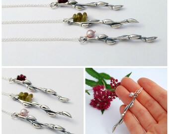 Twig necklace - sterling silver cast willow branch necklace with garnet