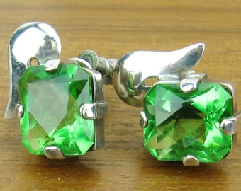 Vintage Sterling Silver Earrings Chartreuse Green Rhinestone screw back Mexican Mexico 1940s  jewelry 925
