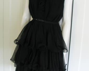 Vintage 60's Black Lettuce Leaf Ruffle Sheer Cocktail Dress - Miss Elliette- Sz Medium