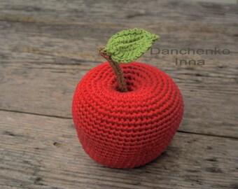 Crochet apple, Crochet fruit, Amigurumi Crochet food, Crochet play food, kitchen decoration,