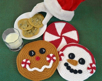 Crochet Pattern, Christmas Hot Pad set, Peppermint Pals - Snowman, Gingerbread Man and Candy, Winter Holiday Trivet INSTANT PDF DOWNLOAD