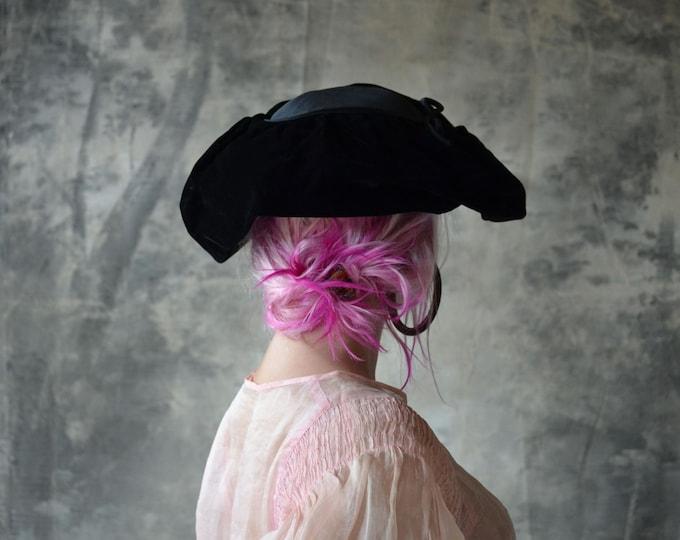 1940s Black Velvet Hat