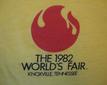 Vintage 80's The 1982 World's Fair Knoxville Tennessee Souvenir Paper Thin Yellow T Shirt Size M