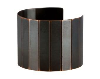 Small Cuff Bracelet, Small Etched Copper Cuff, Modern Cuff Bracelet, Black Copper Cuff, Minimalist Narrow Cuff, Small Wrist Cuff Bracelet